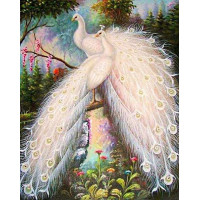 "Алмазная мозаика ""Белые павлины"""