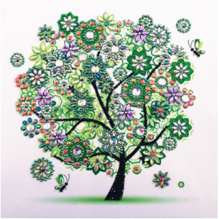 """Алмазная мозаика """"Дерево четыре сезона"""" зеленый"""