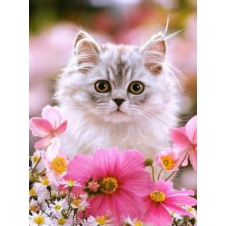 """Алмазная мозаика """"Котенок в цветах"""""""