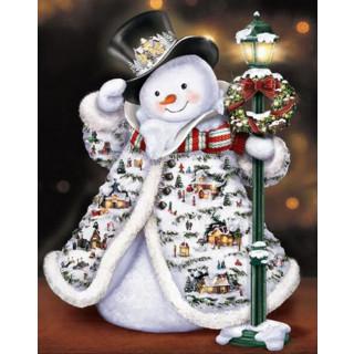 """Алмазная мозаика """"Праздничный снеговик"""""""