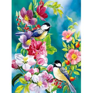 """Алмазная мозаика """"Птички на цветах"""""""
