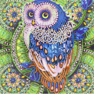 """Алмазная мозаика """"Мудрая сова"""" зеленый"""