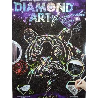 Набор для творчества - Картина стразами Тигр с розой
