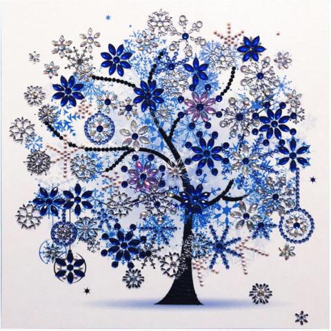 """Алмазная мозаика """"Дерево счастья"""" синее"""