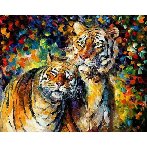 """Алмазная мозаика """"Акварельные тигры"""""""