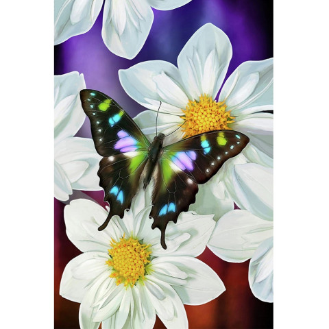 "Алмазная мозаика ""Бабочка и цветы"""