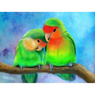 "Алмазная мозаика ""Пара попугаев"""
