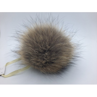 Помпоны натуральный мех енот 16-18 см
