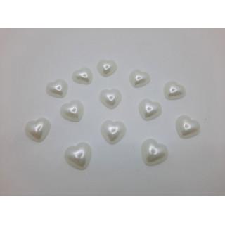 Полубусины сердце белый 12 мм