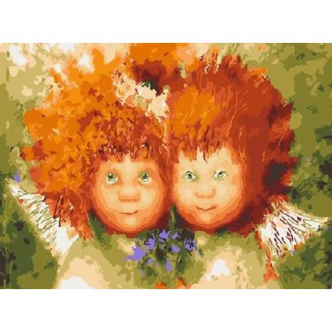 Картина по номерам - Солнечные ангелы с букетом