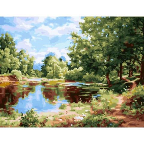 Картина по номерам - Деревья у пруда