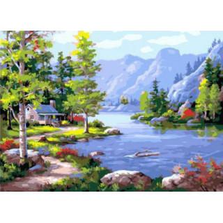 Картина по номерам - Домик у озера