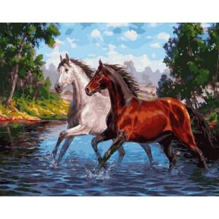 Картина по номерам - Пара лошадей