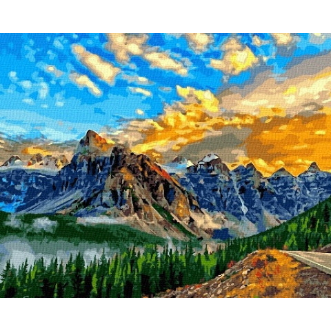 Картина по номерам - Закат в горах