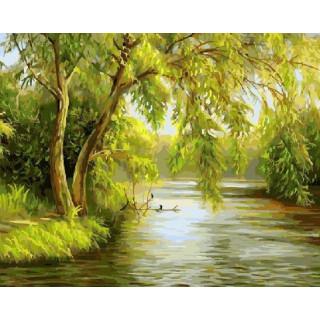 Картина по номерам - Ива над рекой
