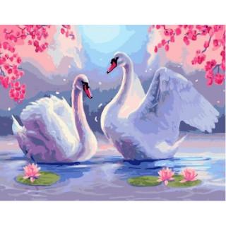 Картина по номерам -  Лебединая верность