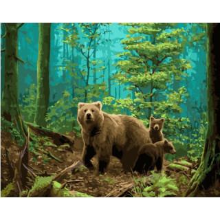 Картина по номерам - Медведица и медвежата
