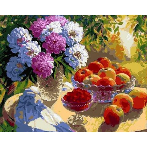 Картина по номерам - Пионы и яблоки