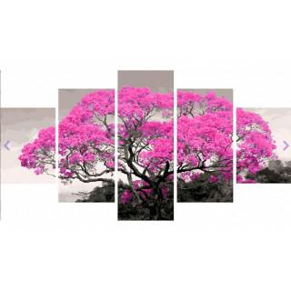Картина по номерам модульная - Розовое дерево