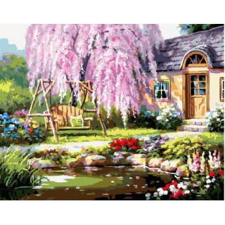 Картина по номерам - Сакура во дворе