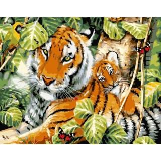 Картина по номерам - Тигрица с малышом