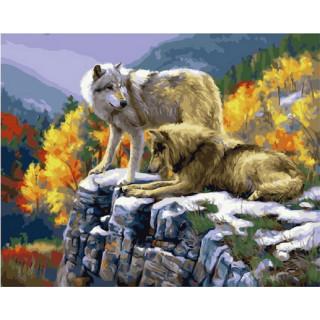 Картина по номерам - Волки в осеннем лесу