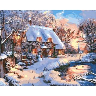 Картина по номерам - Зимний домик