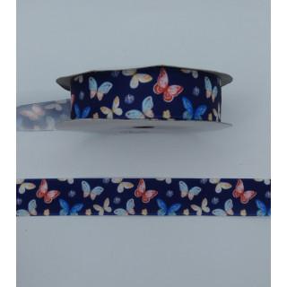 Лента атлас, синий, бабочки