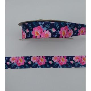 Лента атлас, синий, цветы