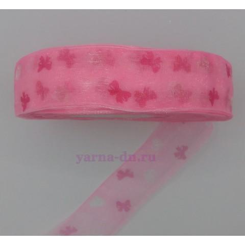 Органза, розовая, бабочки
