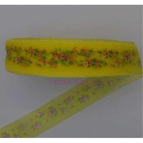 Органза, желтая, цветочки