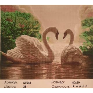 Лебеди, алмазная мозаика
