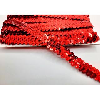 Тесьма-резинка красные пайетки 1,8 см