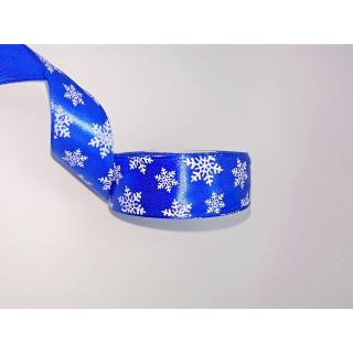 Лента атласная снежинки, синяя 2,5 см