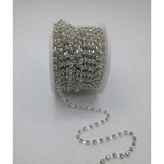 Цепочка стразы ss12, серебро
